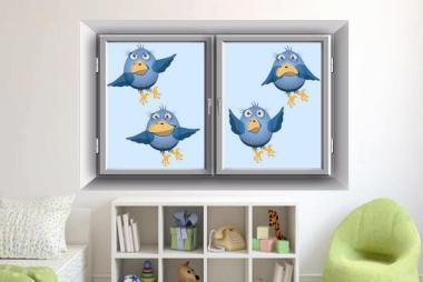 Fenstertattoo Blue Birds