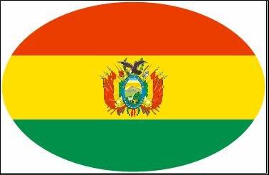 Aufkleber oval Bolivien 10 x 6,5 cm