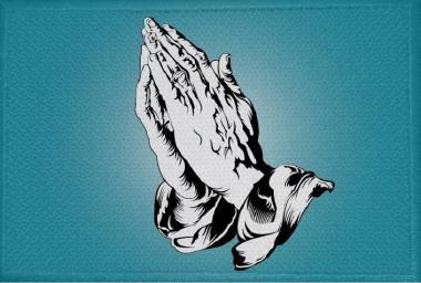 Aufnäher Patch Betende Hände blau 9 x 6 cm