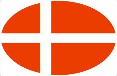 Aufkleber oval Dänemark 10 x 6,5 cm
