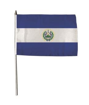 Stockflagge El Salvador mit Wappen 30 x 45 cm