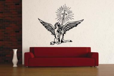 Wandtattoo Engel mit Kreuz