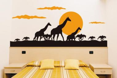 Wandtattoo Giraffenwanderung Bicolor
