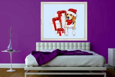 Fenstertattoo Hund mit Geschenke