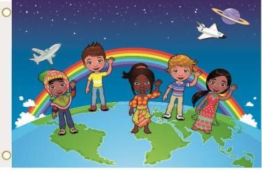 Fahne Kinder der Welt 90 x 150 cm