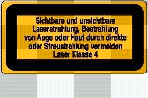 Laser Klasse 4 Sicht. und unsicht. Laserstrahlung 10,5 x 5,2 cm