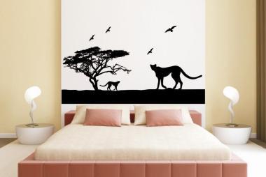 Wandtattoo Leoparden in der Savanne