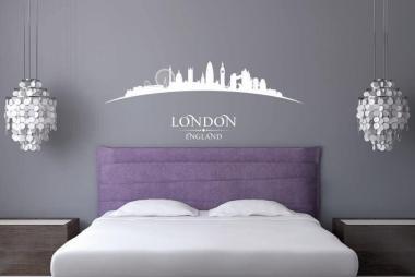 Wandtattoo London Skyline gebogen S   weiß