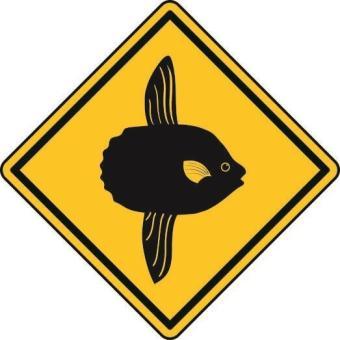 Aufkleber Vorsicht / Achtung Mondfisch