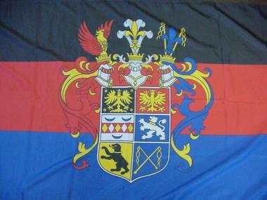 Fahne Ostfriesland mit Prachtwappen 90 x 150 cm