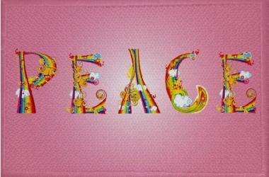 Aufnäher Patch Peace Motiv Nr. 8 rosa 9 x 6 cm