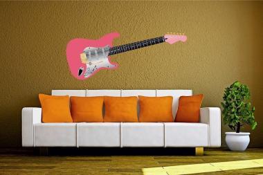Wandtattoo Gitarre pink