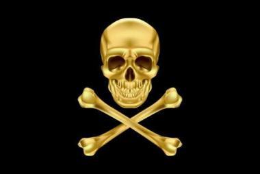 Aufkleber Pirat Cross Bone gold