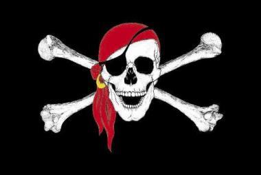 Aufkleber Pirat mit rotem Kopftuch