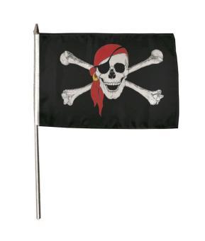 Stockflagge Pirat mit rotem Kopftuch 30 x 45 cm