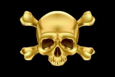 Aufkleber Pirat Skull Bones gold