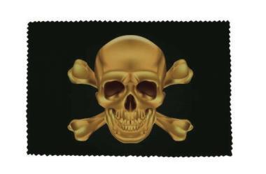 Glasreinigungstuch Pirat Totenkopf gold
