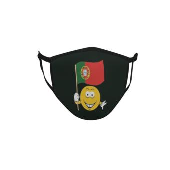 Gesichtsmaske Behelfsmaske Mundschutz schwarz Portugal Smily