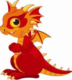 Aufkleber Roter Baby Drachen