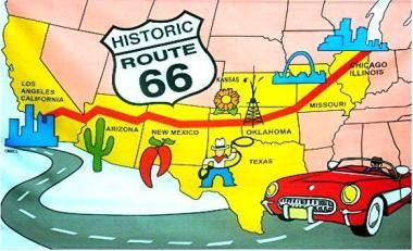 Fahne Route 66 90 x 150 cm
