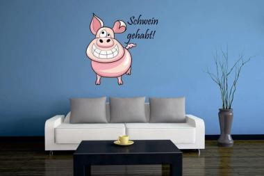 Wandtattoo Schwein gehabt