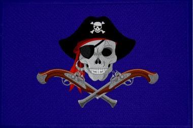 Aufnäher Patch Pirat mit Pistolen und Mütze blau 9 x 6 cm
