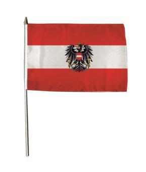 Stockflagge Österreich mit Adler 30 x 45 cm