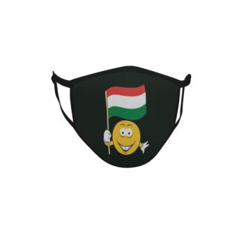 Gesichtsmaske Behelfsmaske Mundschutz schwarz Ungarn Smily