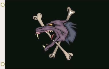 Fahne Werewolf Wolf mit Knochen 90 x 150 cm