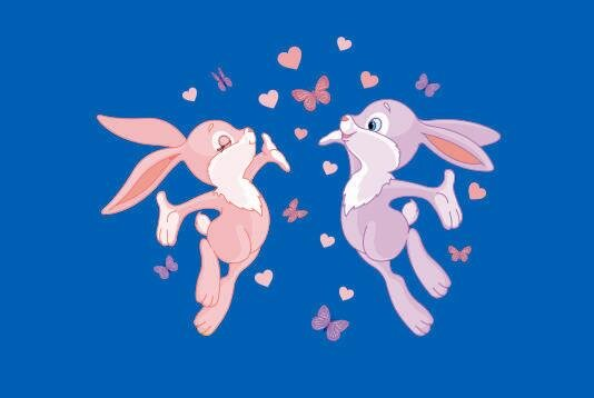 Flagge 2 Hasen mit Schmetterlingen