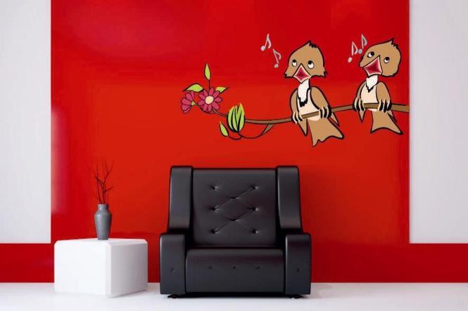 wandtattoo 2 singende v gel. Black Bedroom Furniture Sets. Home Design Ideas