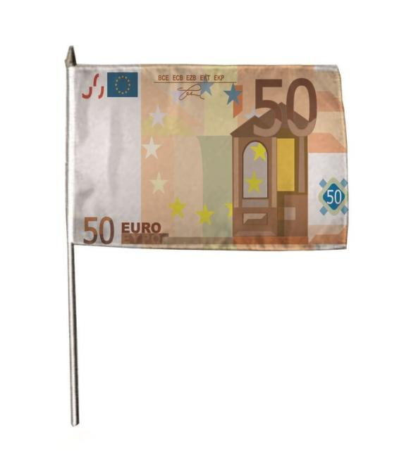 Stockflagge 50 Euroschein 30 x 45 cm