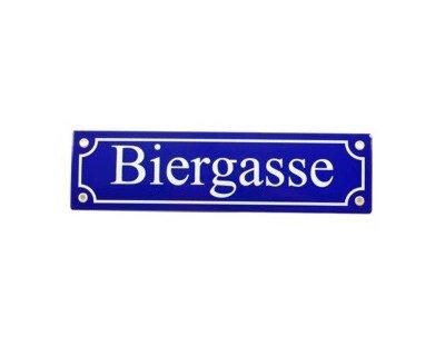 Emailschild Biergasse 8 x 31 cm