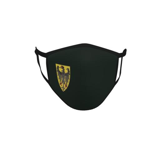 Gesichtsmaske Behelfsmaske Mundschutz schwarz Aachen Wappen klein