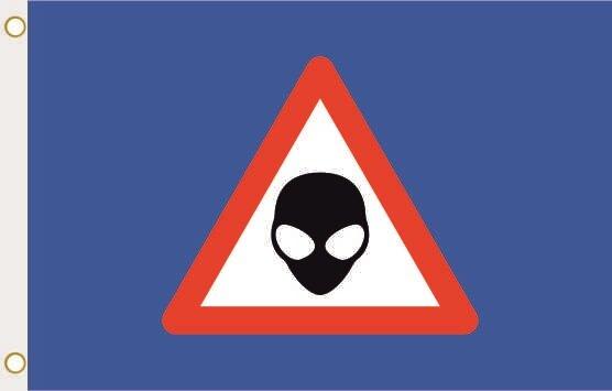 Fahne Achtung Alien blau 90 x 150 cm
