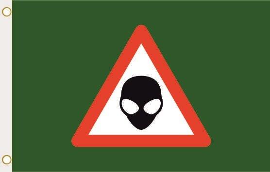 Fahne Achtung Alien grün 90 x 150 cm