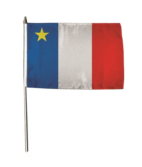 Stockflagge Akadien 30 x 45 cm
