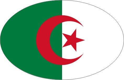 Aufkleber oval Algerien 10 x 6,5 cm