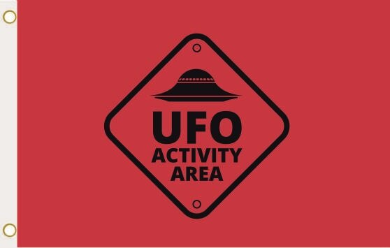 Fahne Alien Area UFO rot 90 x 150 cm