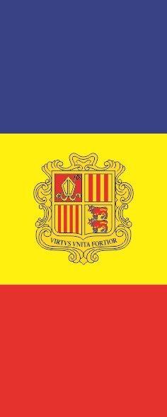 Flagge Andorra im Hochformat