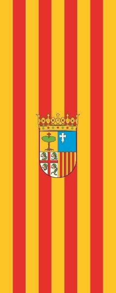 Flagge Aragon im Hochformat