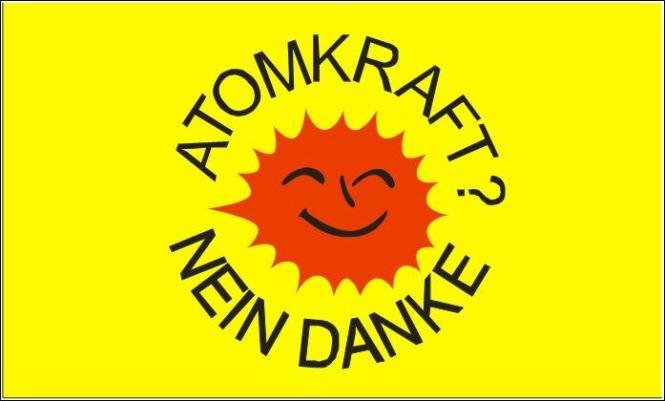 Fahne Atomkraft Nein Danke Hohlsaum 60 x 90 cm