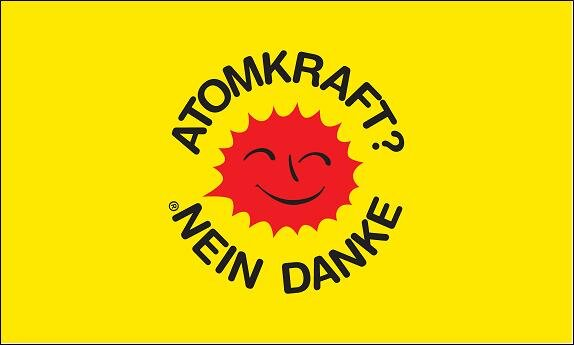 Stockflagge Atomkraft - Nein Danke! gelb 30 x 45 cm