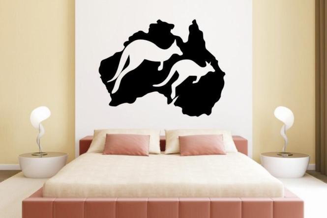 Wandtattoo Australien Känguruh Map