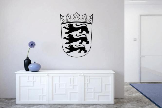 wandtattoo baden w rttemberg wappen schwarz m. Black Bedroom Furniture Sets. Home Design Ideas