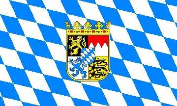 Fahne Bayern mit Wappen 150 x 250 cm