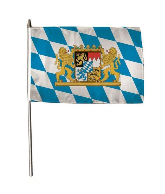 Stockflagge Bayern mit Wappen und Löwen 30 x 45 cm