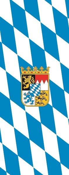 Flagge Bayern Raute mit Wappen im Hochformat