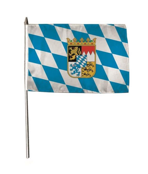 Stockflagge Bayern Raute mit Wappen 30 x 45 cm