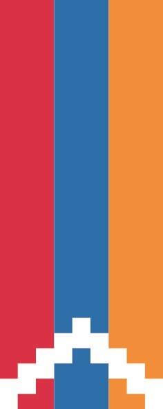 Flagge Bergkarabach im Hochformat